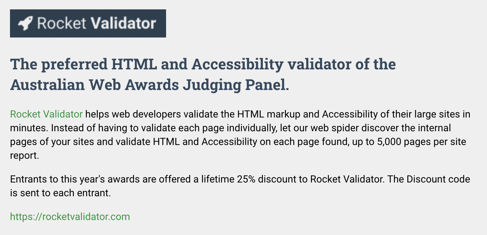 Rocket Validator as sponsor of Australian Web Awards